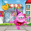 A happy beanie monster jumping in front of the party shop — Imagens vectoriais em stock
