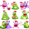 Monsters celebrating christmas — Stock Vector