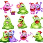 Monsters celebrating christmas — Stock Vector #33635593
