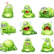 Nine green monsters engaging in different activities — Stock Vector