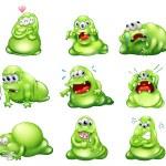 Nine green monsters engaging in different activities — Stock Vector
