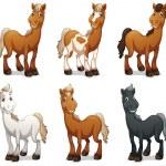 Six smiling horses — Stock Vector