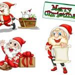 Three smiling Santas — Stock Vector