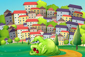 A monster resting at the hilltop across the village — Stock Vector