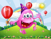 A happy pink beanie monster jumping at the hilltop — Vector de stock