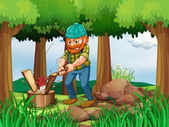 A tired woodman chopping the woods in the forest — Stock Vector