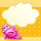 A fat pink monster with an empty cloud template at the back — Stock Vector