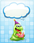A green monster with a cake thinking — Stock Vector