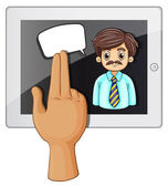 A hand touching a gadget with a bearded businessman — Stock Vector