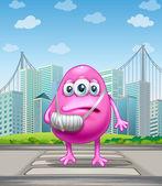 Zraněného růžové monstrum, přejezd na ulici — Stock vektor