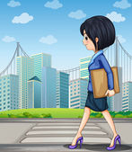 A woman walking at the street near the pedestrian lane — Stock Vector