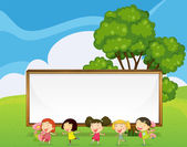 A big empty signboard at the back of the kids dancing — Stock Vector