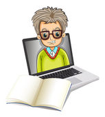 An image of a man inside a laptop with an empty notebook — Stock Vector