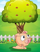 A pig under the tree — Stock Vector