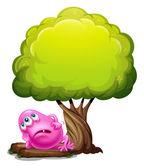 A fat pink beanie monster resting under the giant tree — Stockvector