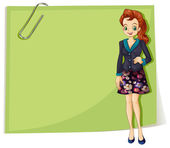 A young business girl in front of the empty template — Stock Vector