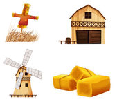 Barn houses, hays and a scarecrow — Stock Vector