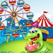 A monster celebrating a birthday at the hilltop with a carnival — Stock Vector
