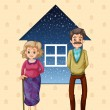 Grandparents in front of the small house — Stock Vector