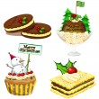 Four desserts for christmas — Image vectorielle