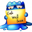 A blue monster holding a get-well-soon card — Stock Vector