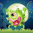 A monster dancing at the carnival in the middle of the night — Stock Vector