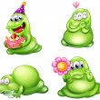 Four green monsters with different activities — 图库矢量图片