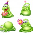 Four green monsters with different activities — Stock Vector