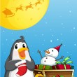 A penguin near the sleigh with a snowman — 图库矢量图片