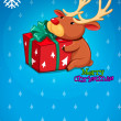 A christmas card with a gift and a deer — Stock Vector