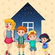 Siblings near the house — Stock Vector