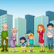 A family with the grandparents in front of the building — Stock Vector