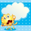 Постер, плакат: An ugly monster in front of the empty cloud template