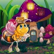 A flying bee near the enchanted mushroom house — Imagen vectorial