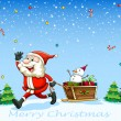 A happy Santa Claus pulling the sleigh with a snowman — Stock Vector