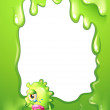 A border design with a green monster in tears — Imagen vectorial