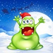 A fat green monster wearing a red Santa hat — Stock Vector
