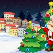 Santa Claus standing beside the Christmas trees near the village — Stock Vector