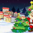 Santa Claus standing beside the Christmas trees near the village — Imagen vectorial