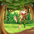 A monkey playing with the vine trees in the middle of the forest — Stock Vector