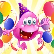 A pink beanie monster in the middle of the balloons — Imagen vectorial