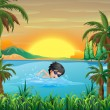 A boy swimming at the lake — Stock Vector