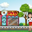 Girl in front of dvd store — Stock Vector #34232195