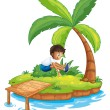 A boy jumping at the island — Stock Vector