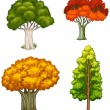 Four trees with different colors — Stock Vector