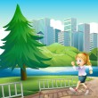 A girl running at the riverbank with a tall pine tree — Stock Vector