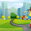 A girl rollerskating at the road with a safety helmet — Stock Vector