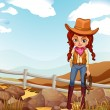 A pretty cowgirl near the rocks — Stock Vector