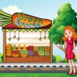 A woman in front of the green grocery stall — Imagens vectoriais em stock