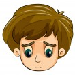 A head of a sad young boy — Stock Vector
